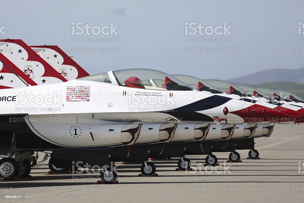 Thunderbirds Lineup at Airshow stock photo