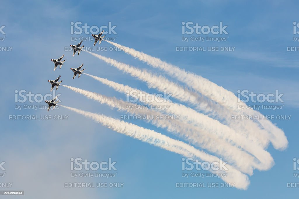 USAF Thunderbirds perform air show routine stock photo