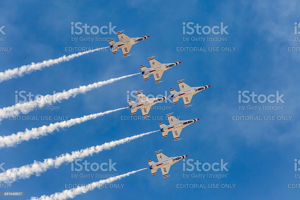 USAF Thunderbirds perform air show routine stock photo