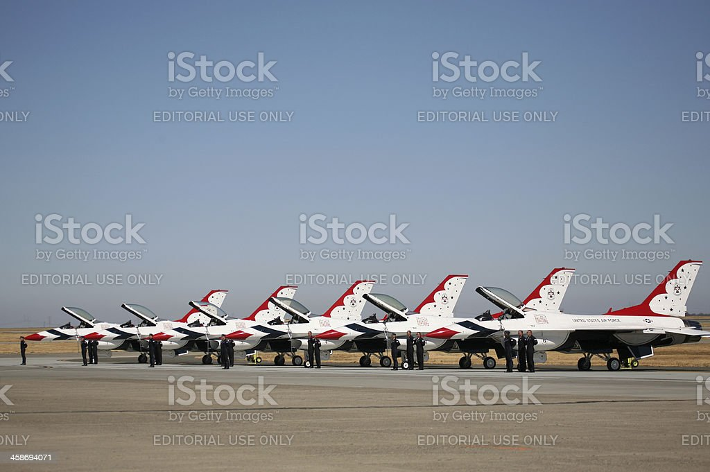 USAF Thunderbirds Preparing to Take off royalty-free stock photo