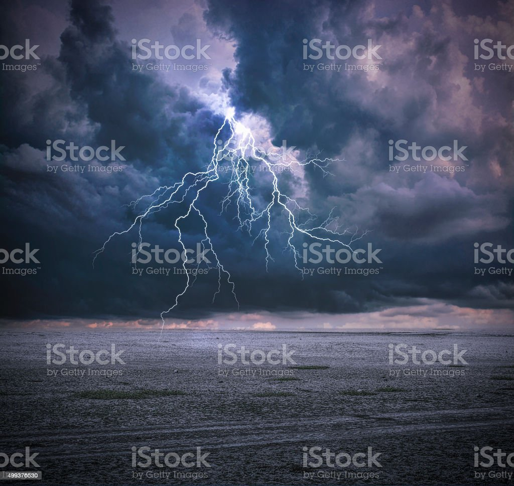 Thunderbolt and Clouds stock photo