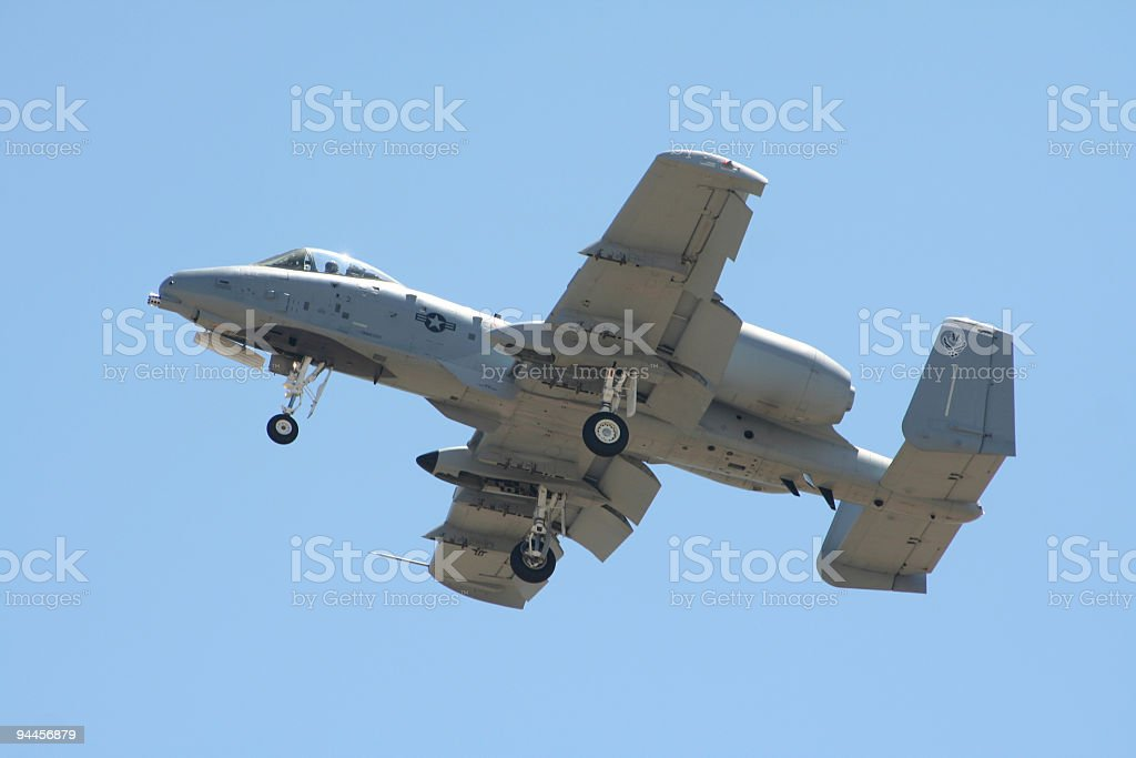 A-10 Thunderbolt (warthog) anti tank attack plane stock photo