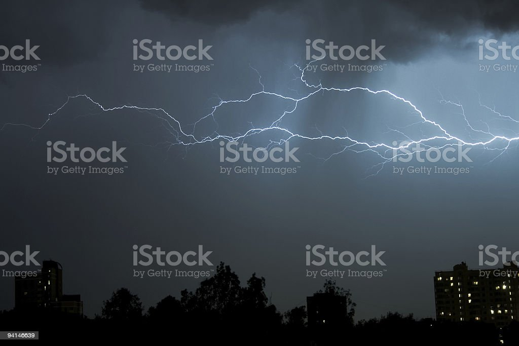 Thunderbolt in the night storm stock photo