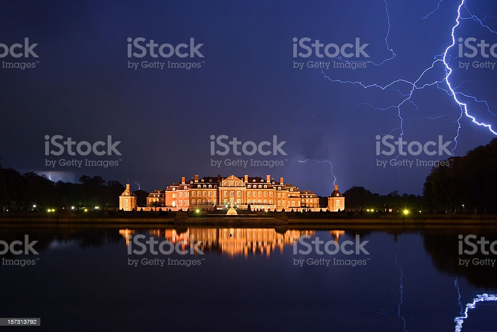 Thunderbolts Over Castle royalty-free stock photo