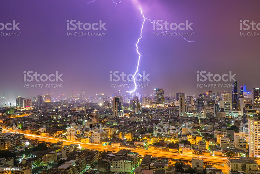 Thunderclap in down town stock photo