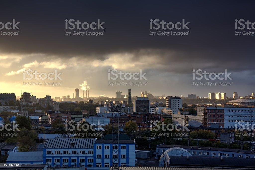 Thundercloud. Sky. City. stock photo