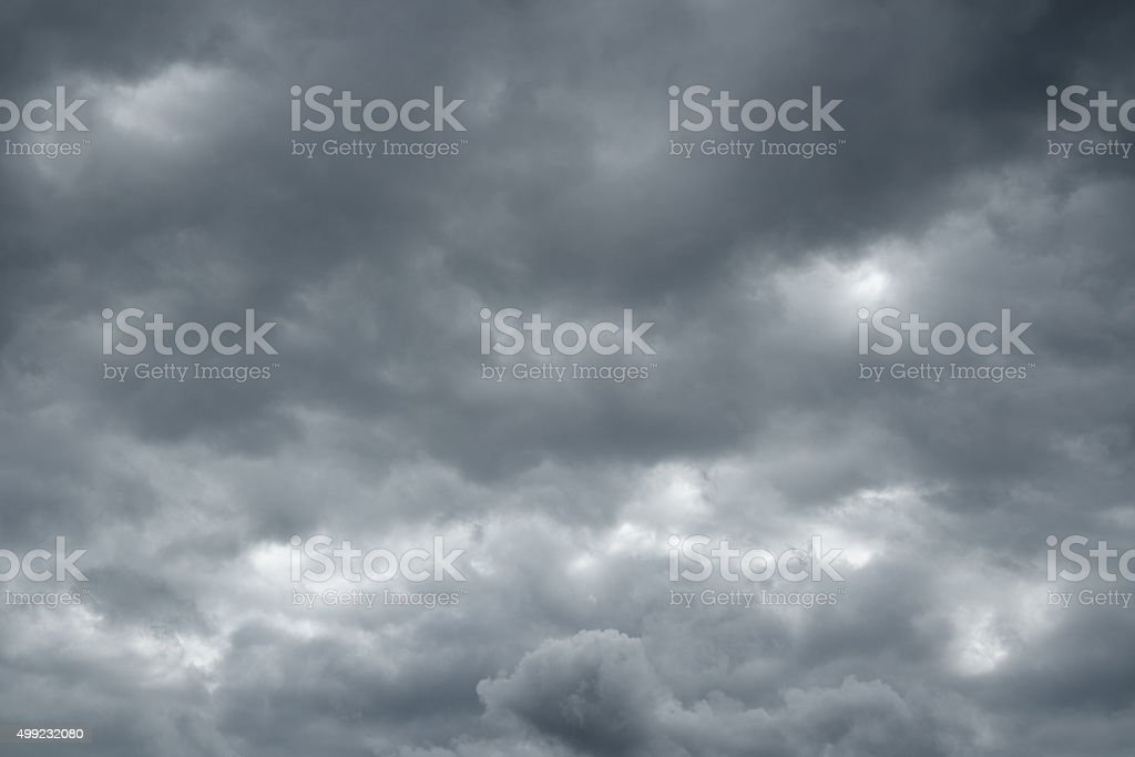 Thunderclouds over horizon, dark, gray. stock photo