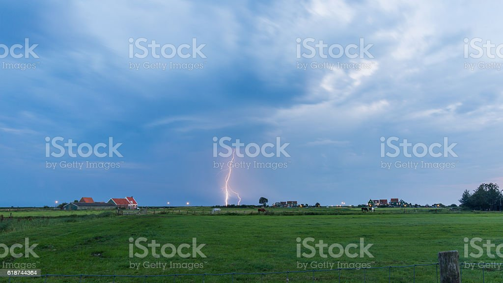 Thunderclouds over Marken, The Netherlands stock photo