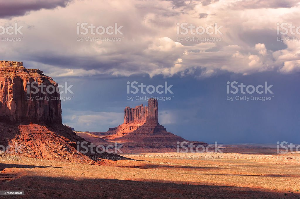 Thunderclouds over the Monument Valley on sunset, Arizona stock photo