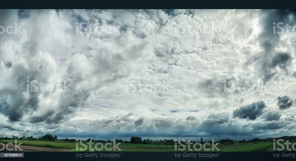 thunderclouds. Rural landscape in the country. Storm clouds stock photo