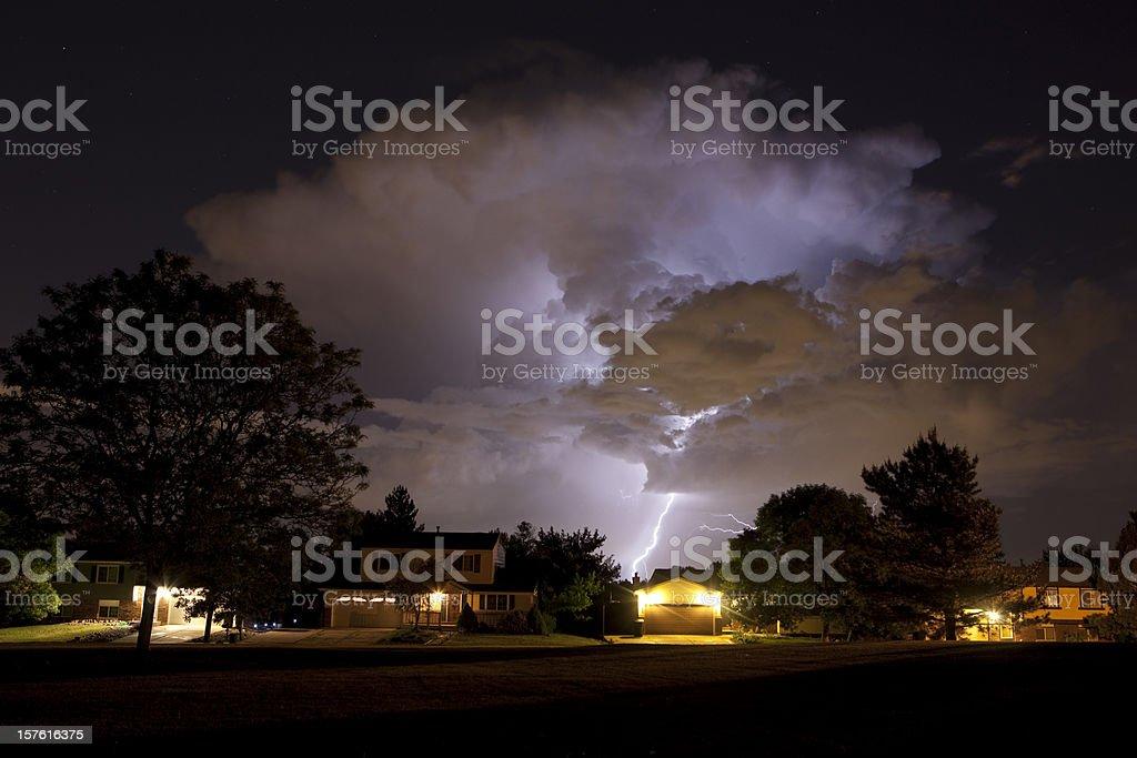 Thunderhead and Lightning Over Denver Homes stock photo