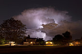 Thunderhead lightning strikes over Denver homes Colorado