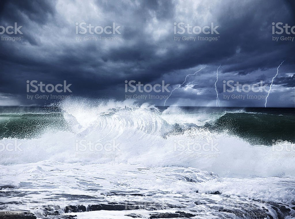 Thunderstorm and lightning on the beach stock photo