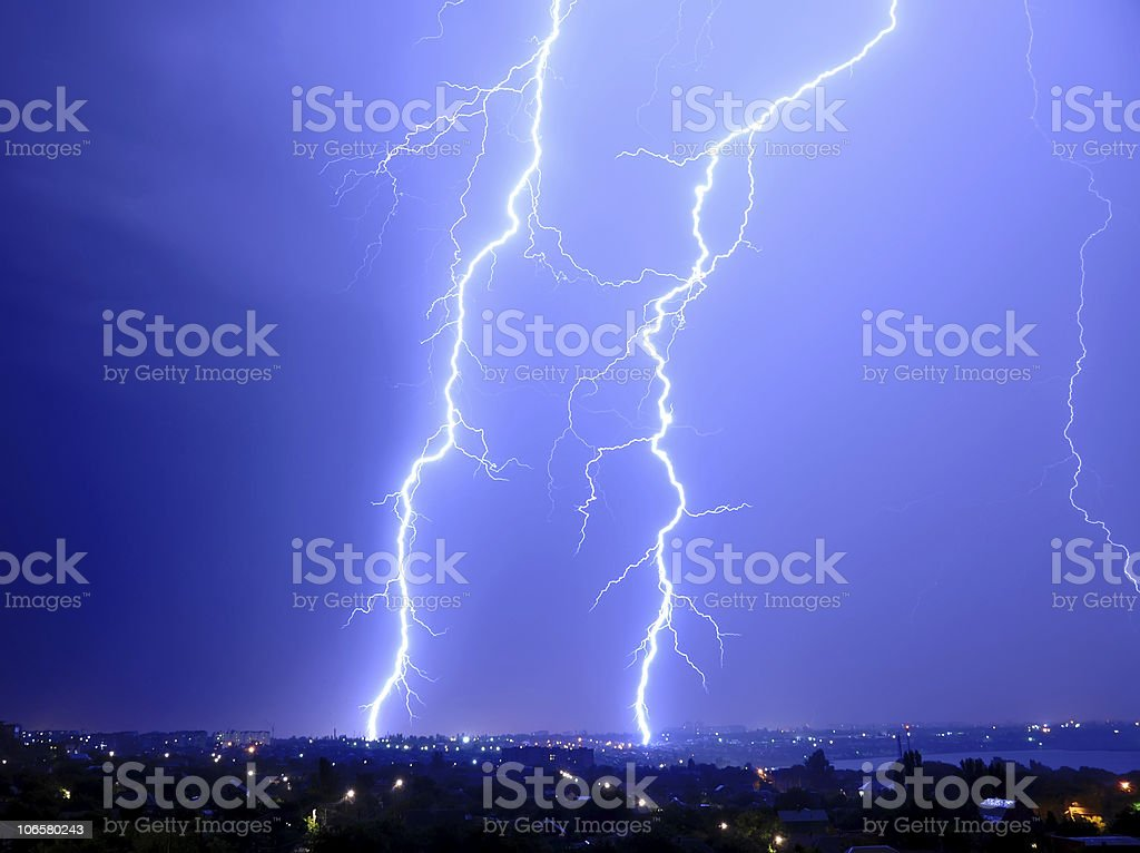 Thunderstorm and perfect Lightning over city royalty-free stock photo
