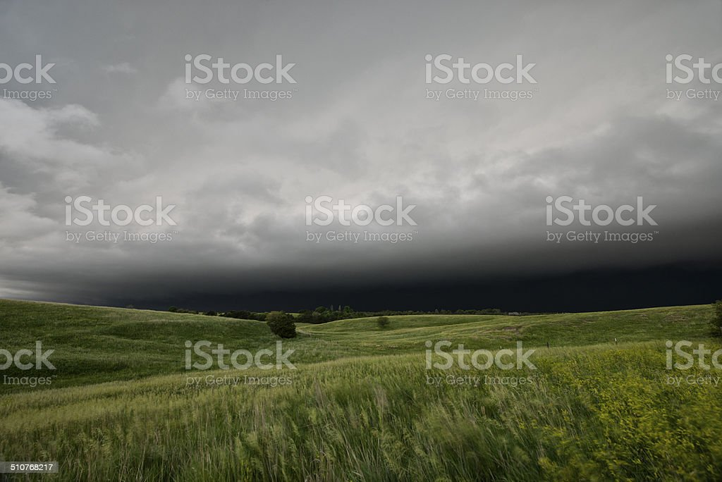 Thunderstorm approaching on Tornado Alley, USA stock photo