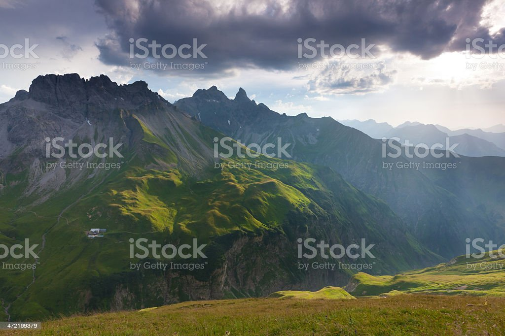 thunderstorm approaching the allgäuer alps stock photo