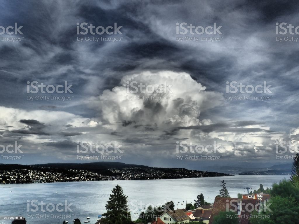 Thunderstorm approach the Lake Zurich