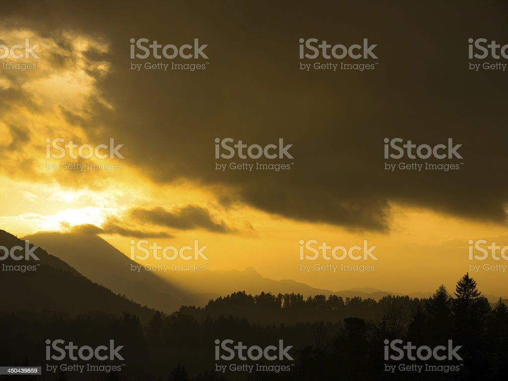 Thunderstorm at Gaisberg, near Salzburg, Austria stock photo