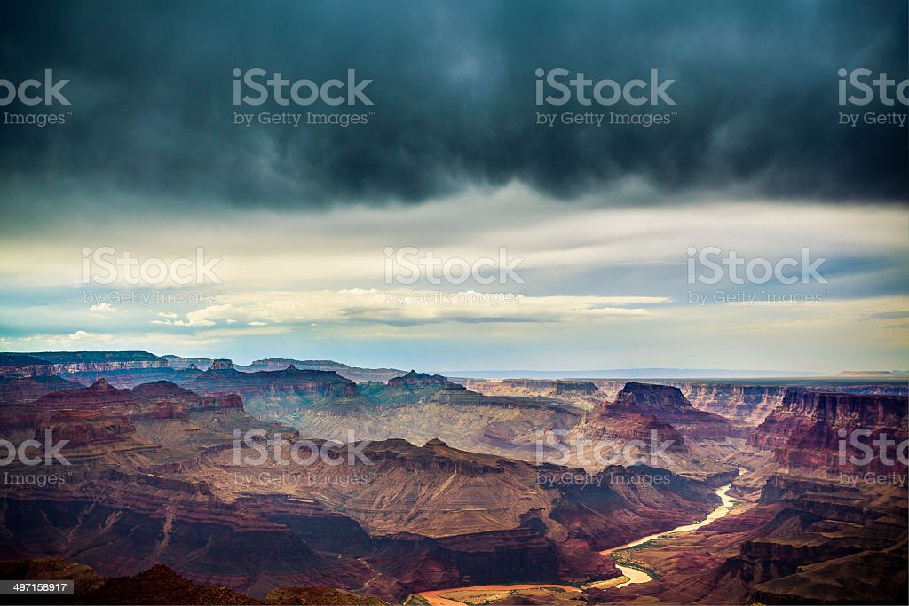 Thunderstorm at Grand Canyon National Park and Colorado River stock photo