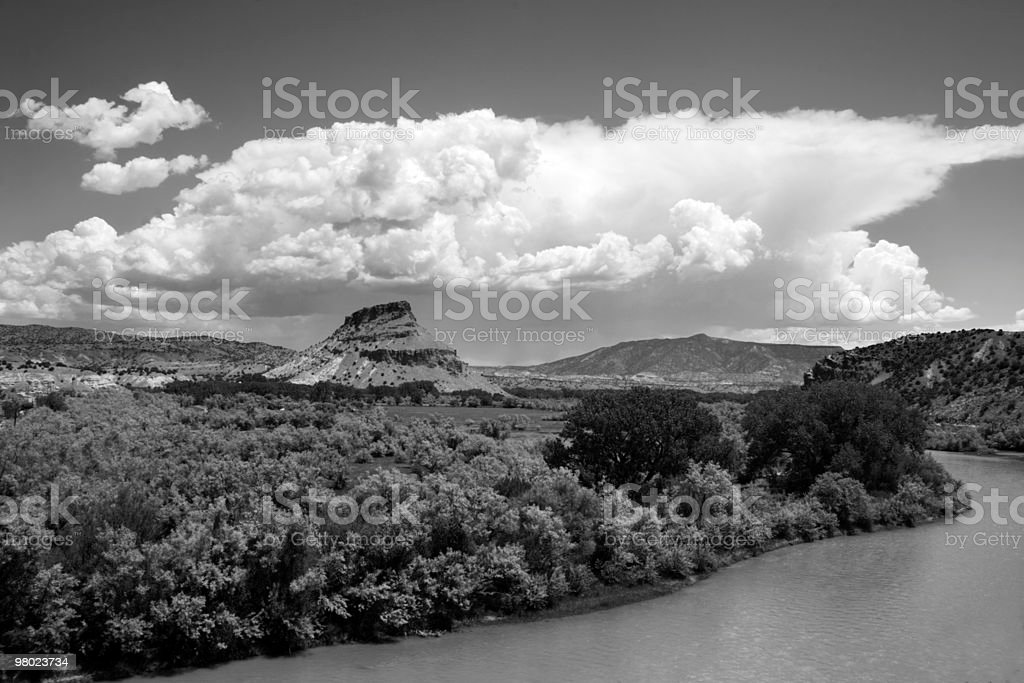B&W Thunderstorm Builds Over Abiquiu stock photo