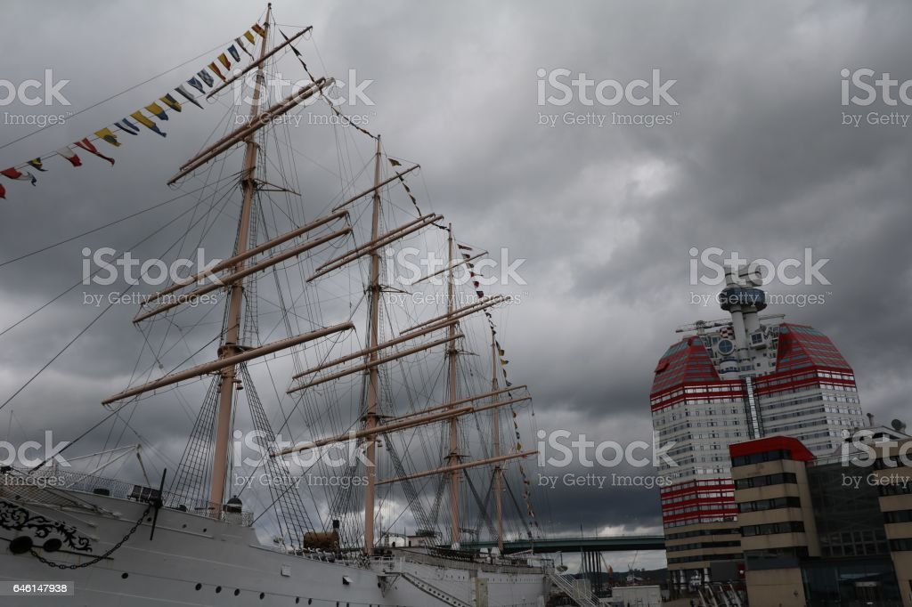 Thunderstorm clouds over Lilla Bommen and Fourmastbark Viking, Gothenburg Sweden stock photo