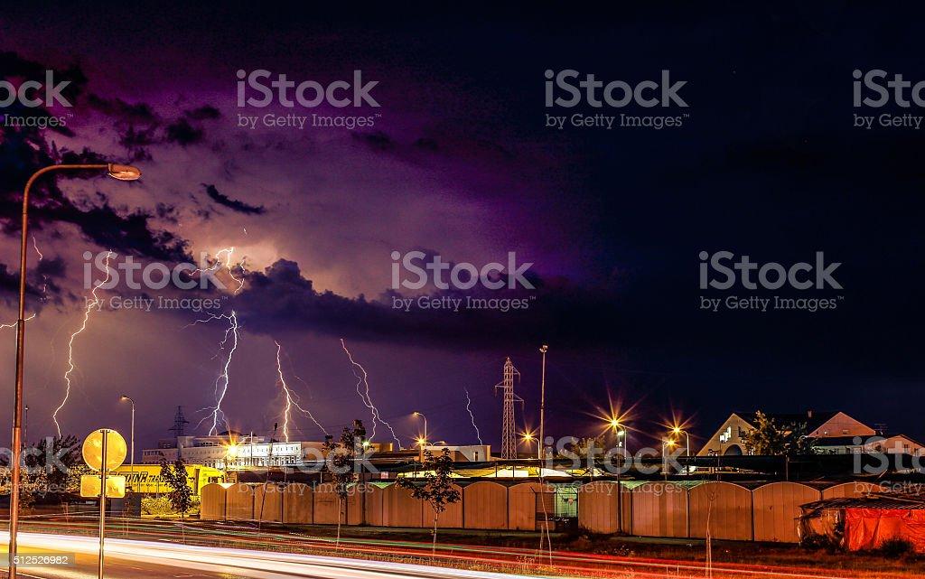 Thunderstorm hitting market district stock photo