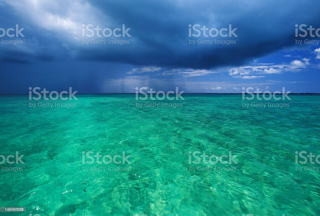 thunderstorm in lagoon stock photo