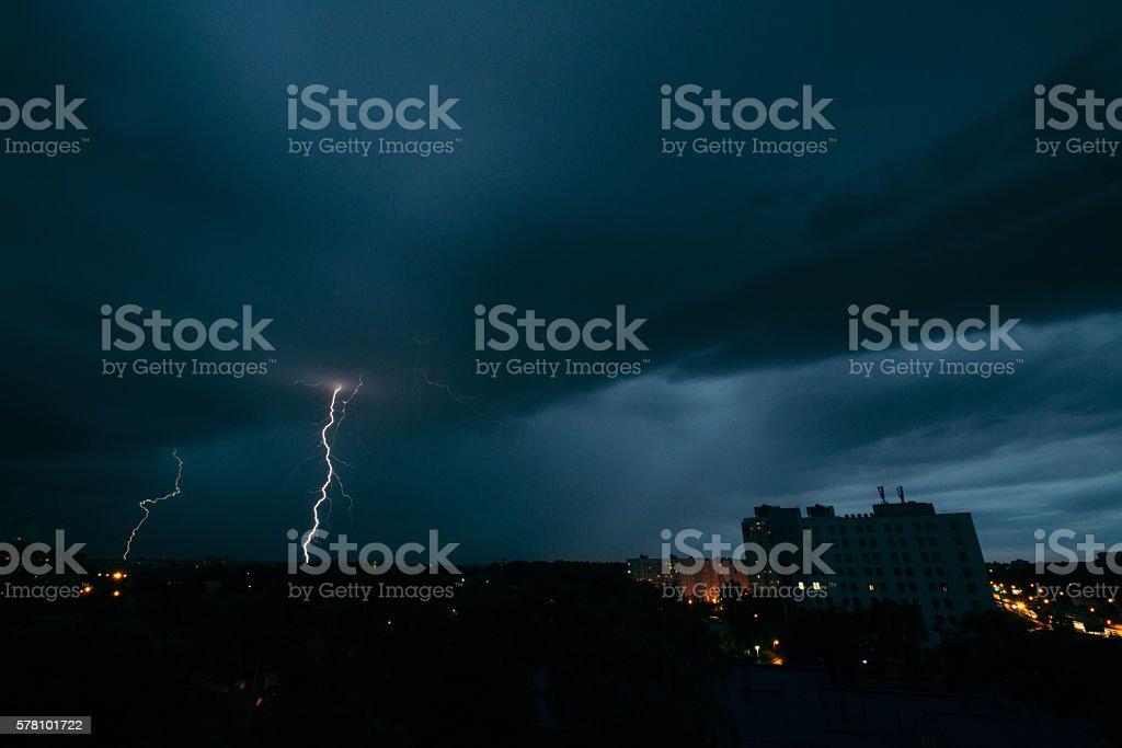 Thunderstorm in Minsk stock photo