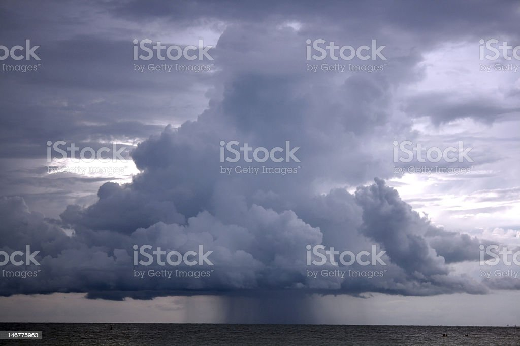 Thunderstorm in the pacific ocean royalty-free stock photo