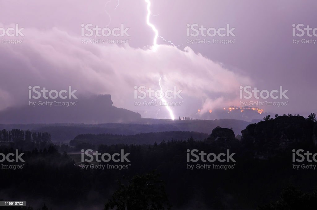 Thunderstorm in the Saxon Switzerland, Germany stock photo