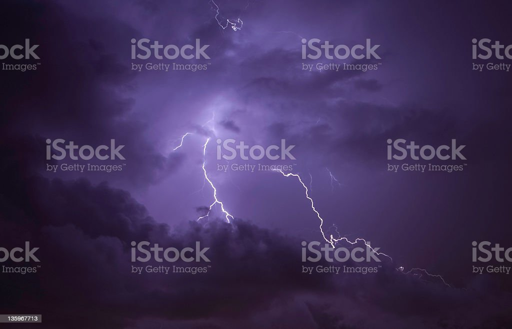 Thunderstorm lightning at night royalty-free stock photo