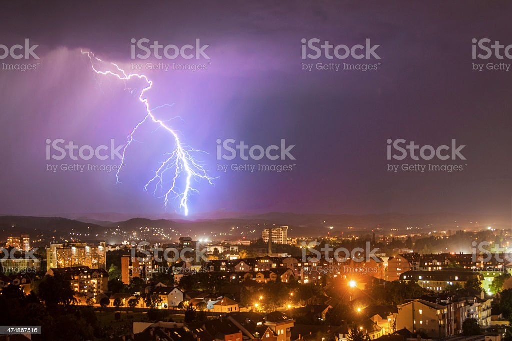 Thunderstorm over a city stock photo