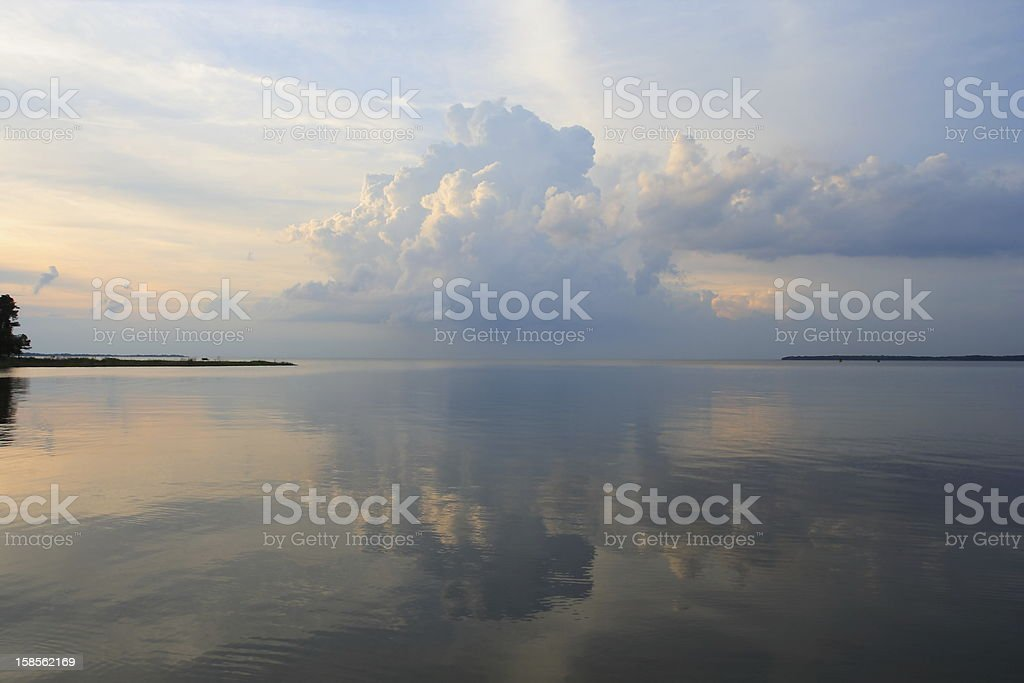Thunderstorm over Chesapeake Bay stock photo