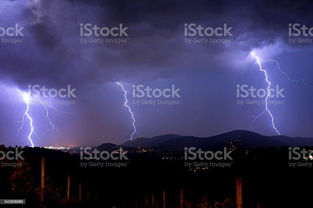 Thunderstorm over Italy stock photo