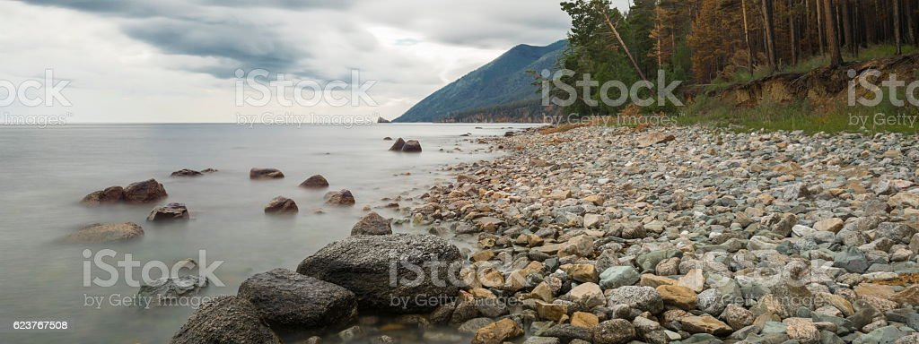 Thunderstorm over lake Baikal stock photo