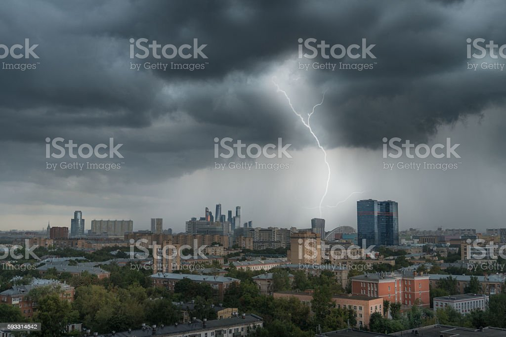 Thunderstorm over Moscow stock photo