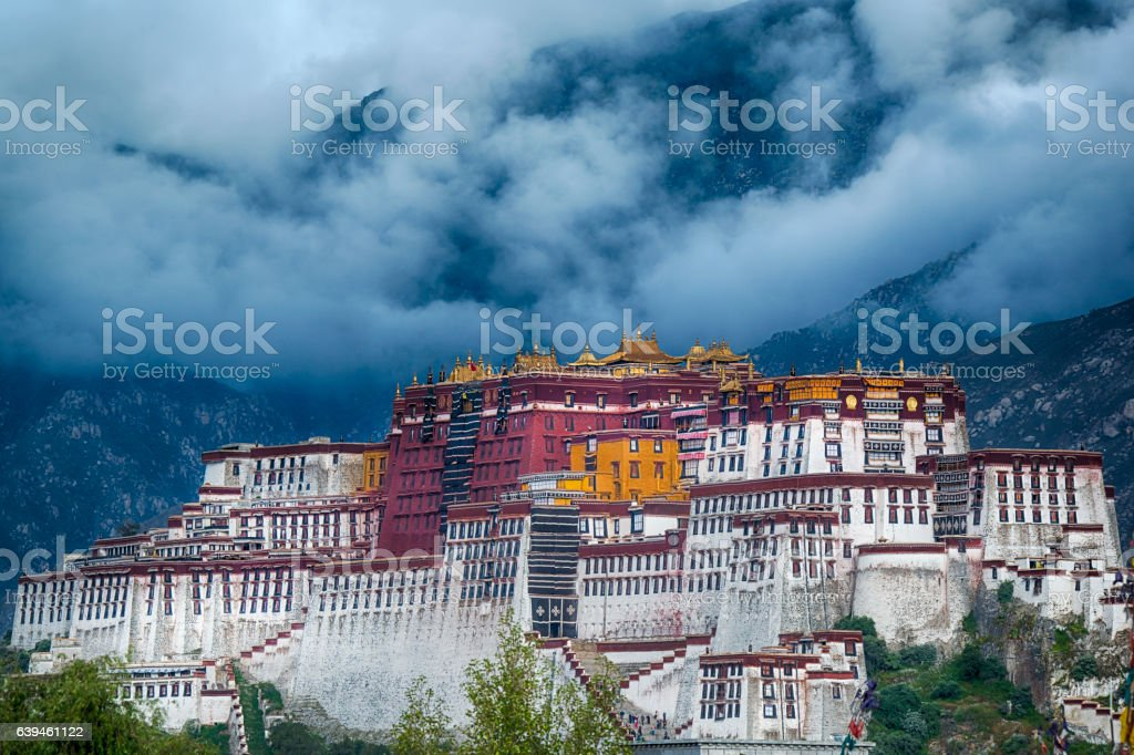 Thunderstorm over Potala palace in Lhasa, Tibet stock photo