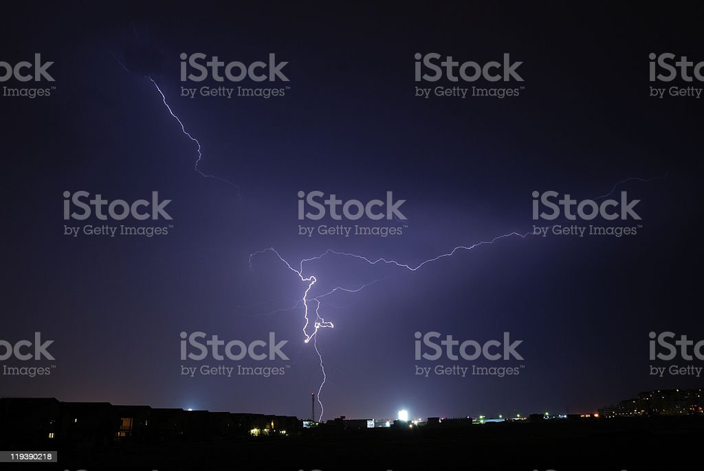 thunderstorm over the city lights royalty-free stock photo