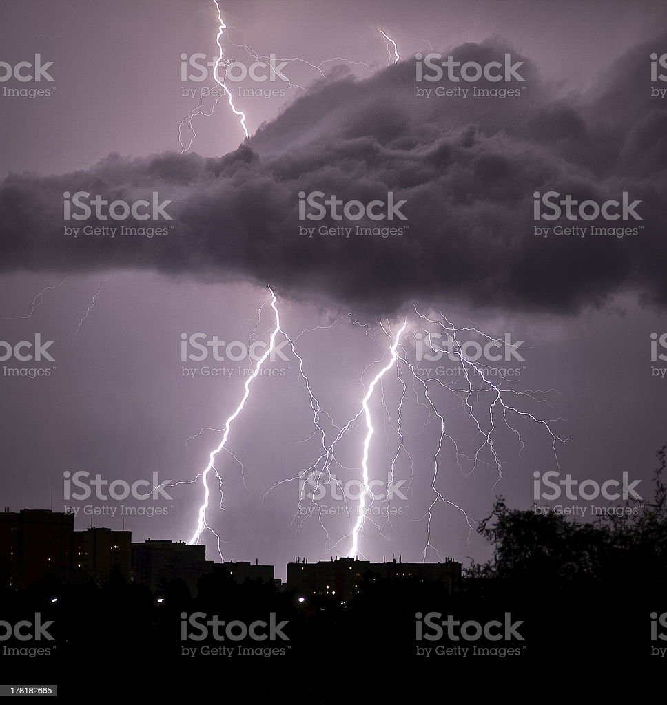 Thunderstorm over the city royalty-free stock photo