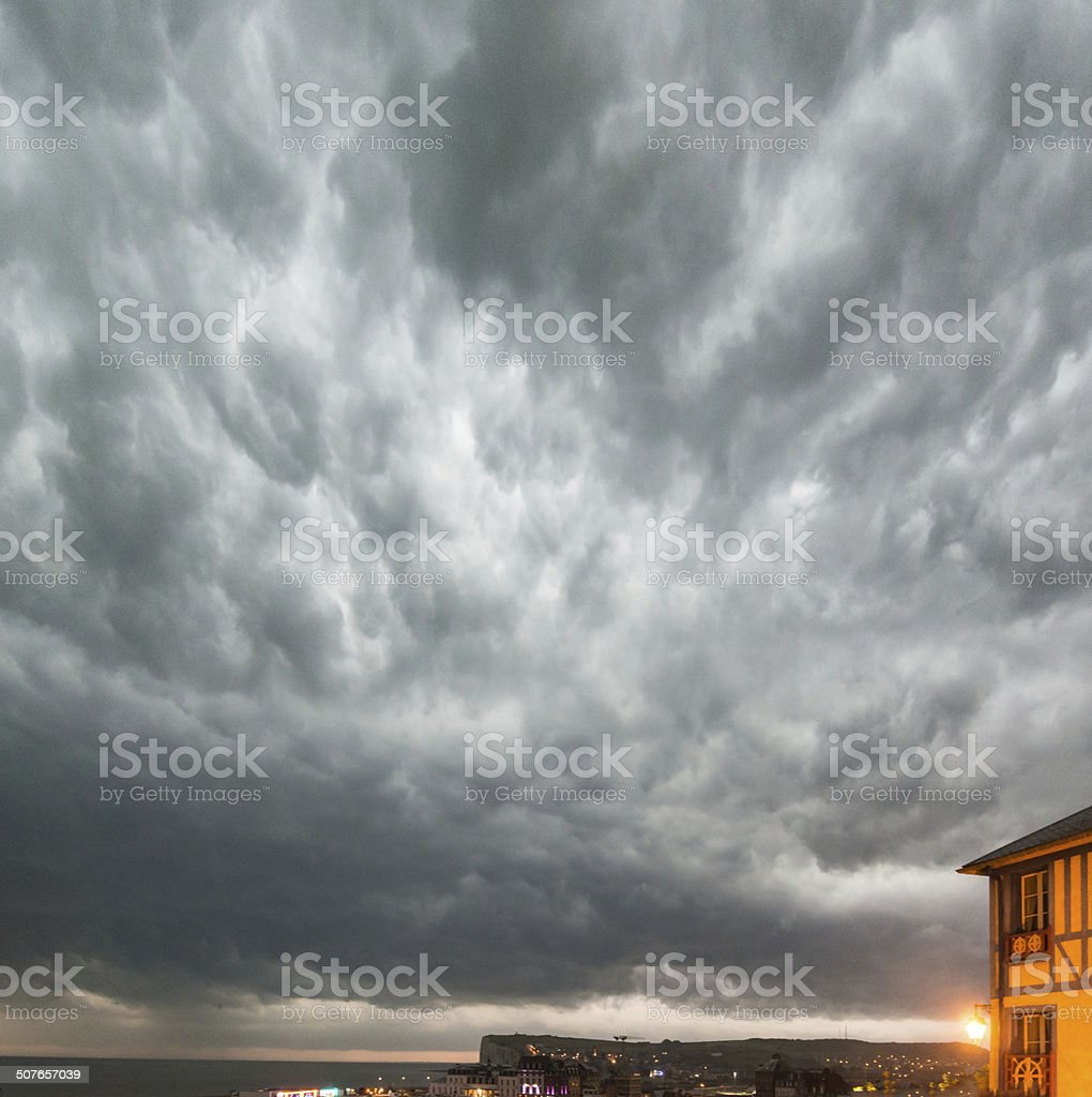 Thunderstorm over the cliffs stock photo