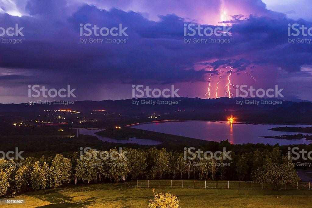 Thunderstorm over the  dam stock photo