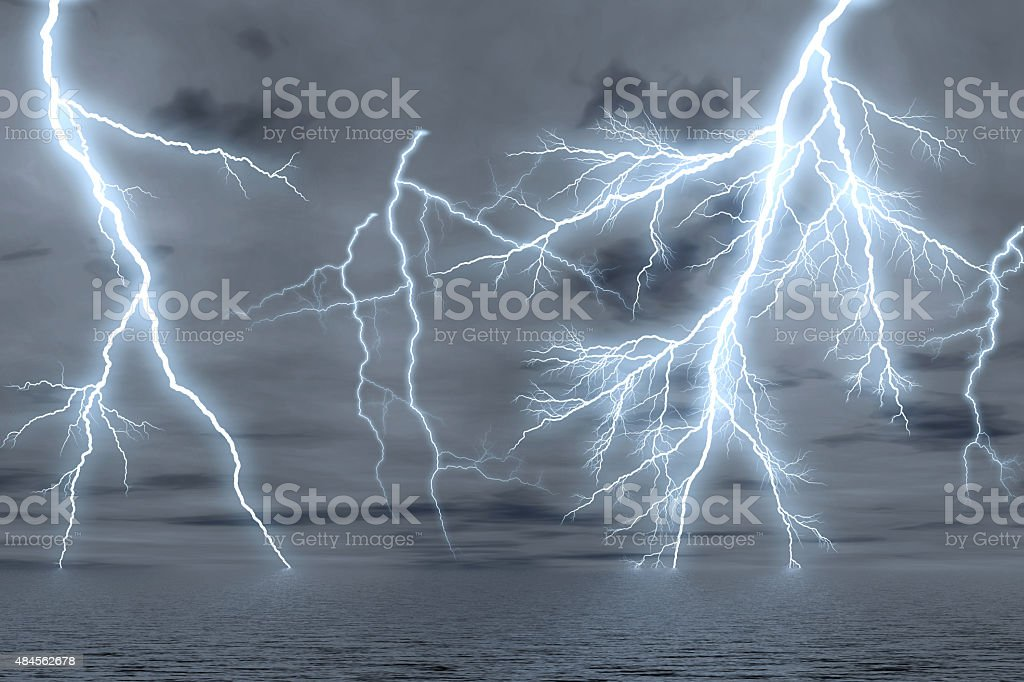 Thunderstorm over the sea. stock photo