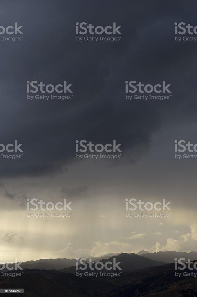 Thunderstorm Rain Weather Landscape stock photo