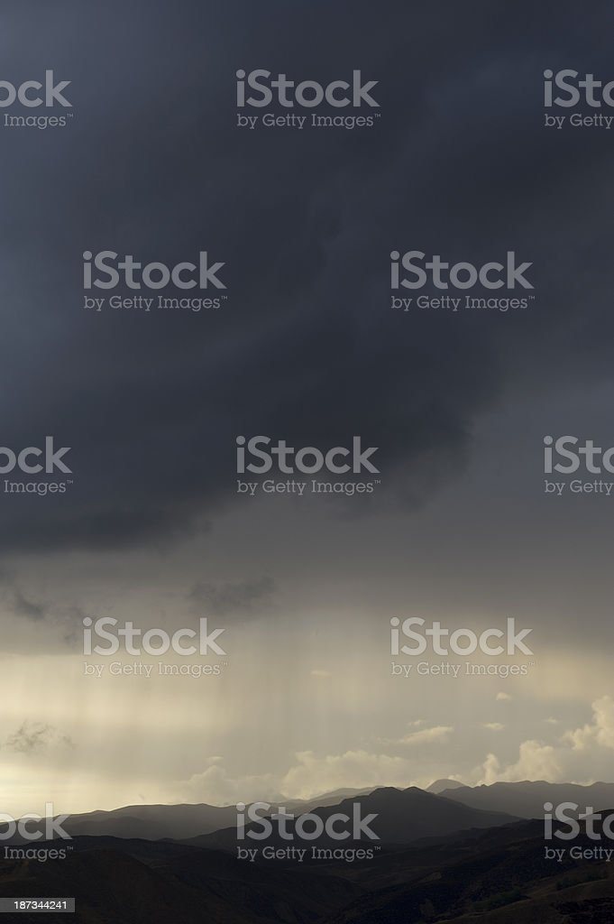 Thunderstorm Rain Weather Landscape stock photo