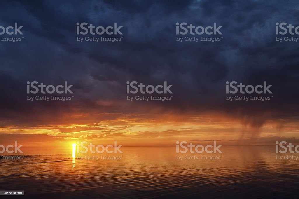 Thunderstorm sky on the lake Balkhash, Kazakhstan stock photo
