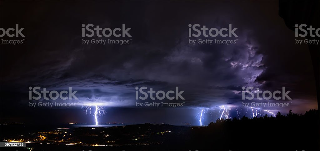 Thunderstorm with huge lightning stock photo