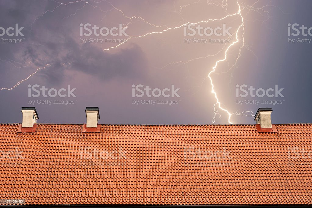 Thunderstorm with lightening stock photo