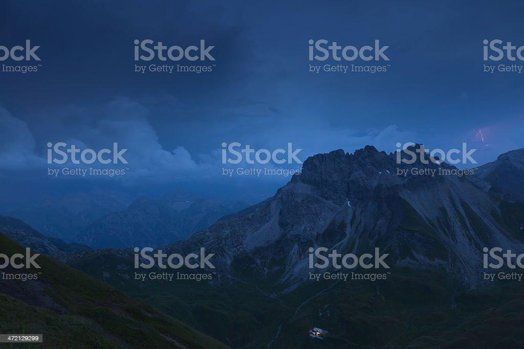 thunderstorm with lightning above the lechtaler alps, kemptner hut in...