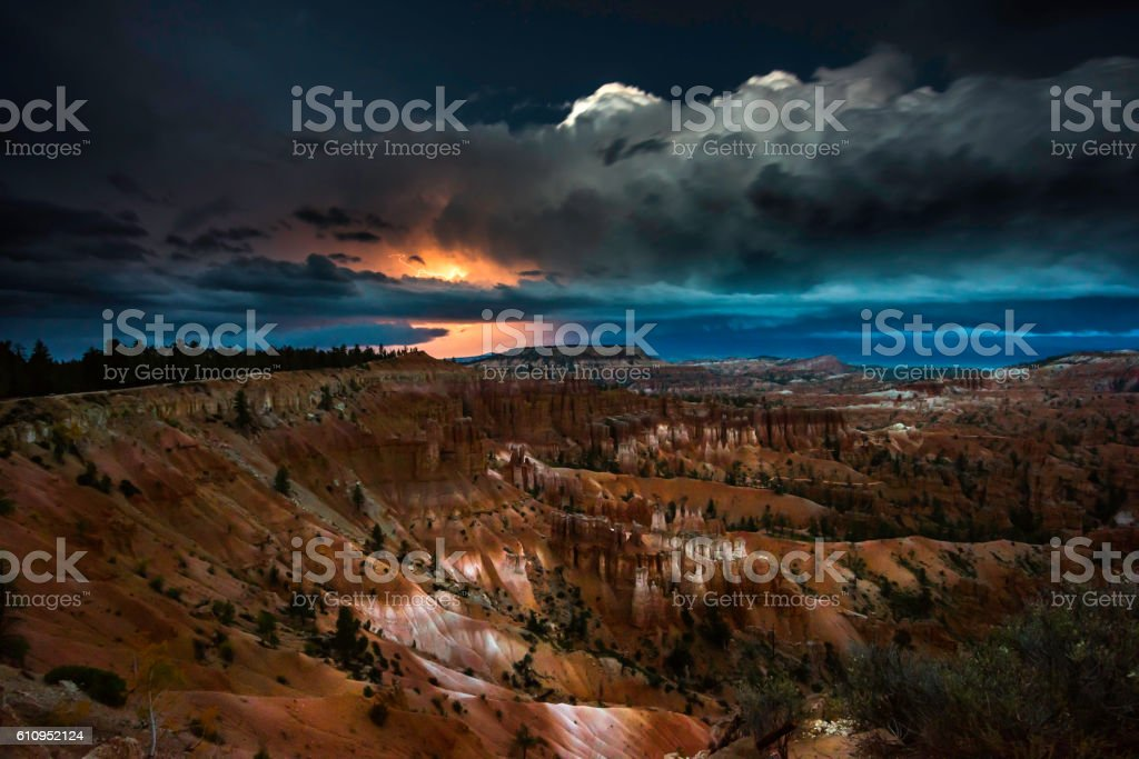 Thunderstorm with Lightning in Bryce Canyon stock photo
