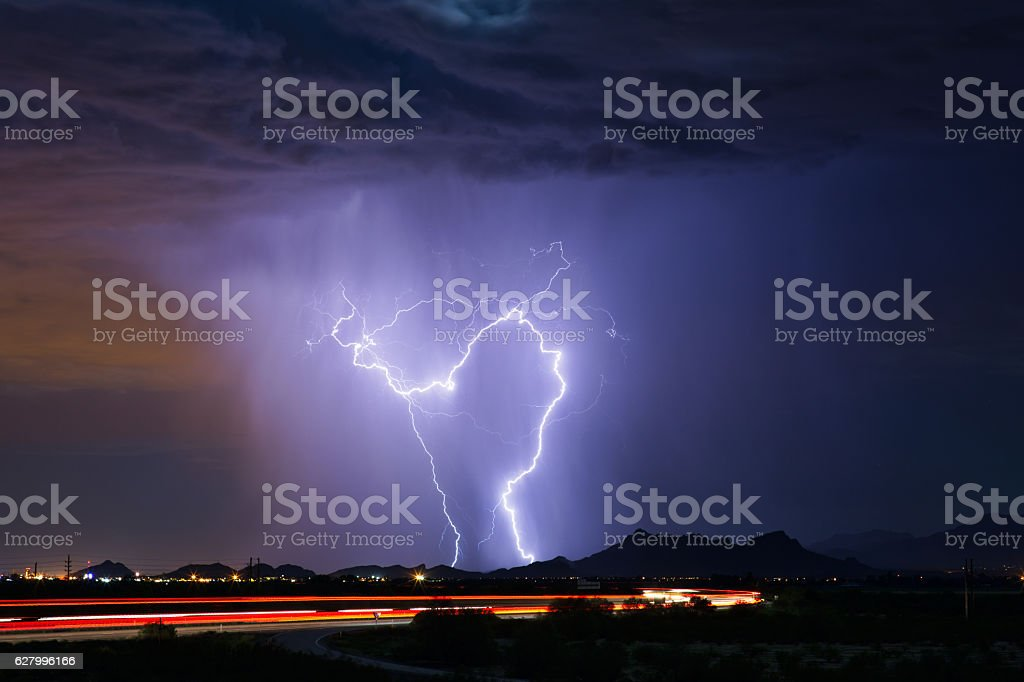 Thunderstorm with rain and lightning stock photo